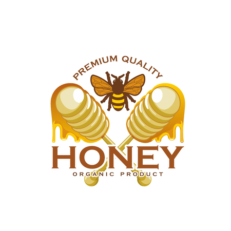 Ilustración de Honey bee and dipping stick product vector icon - Imagen libre de derechos