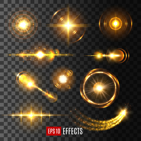 Ilustración de Light flashes, sun beams and star lights isolated icons on transparent background. Vector set of shining beam with lens flare effect or glittering sunlight ray or solar space burst and twinkling light - Imagen libre de derechos