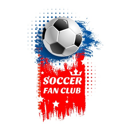Illustration pour Soccer fan club icon or poster of 3D football ball in goal gates at arena stadium. Vector design of stars and victory crown for soccer championship or champion league sport tournament - image libre de droit