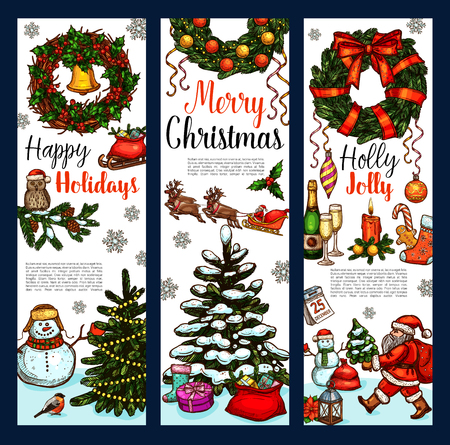 Illustration for Christmas greeting banner design template. - Royalty Free Image