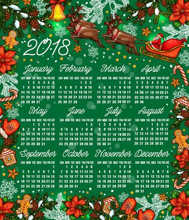 Ilustración de Calendar template with Christmas garland and gifts in colorful illustration. - Imagen libre de derechos