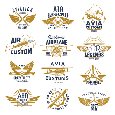 Ilustración de Aviation airplane legend team vector retro icons - Imagen libre de derechos
