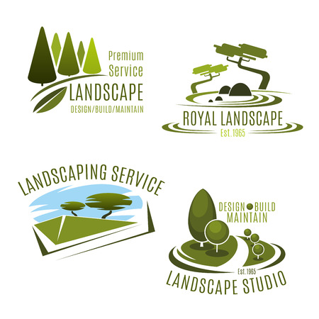Illustration for Vector icons gardening landscape design company - Royalty Free Image