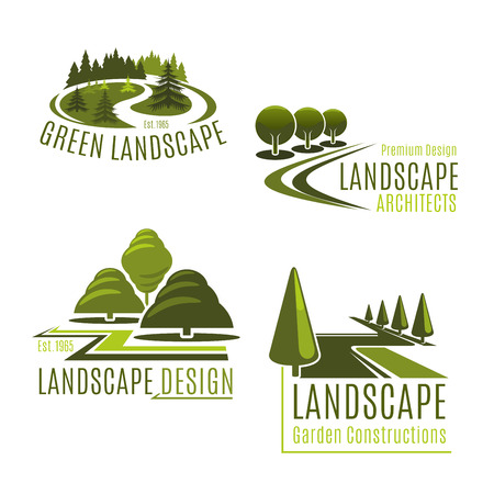 Illustration for Vector icons for nature landscaping company - Royalty Free Image