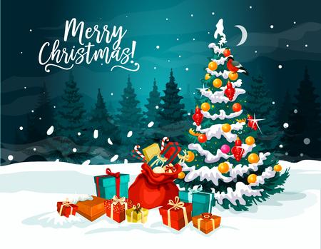 Ilustración de Christmas tree with New Year gift greeting card - Imagen libre de derechos