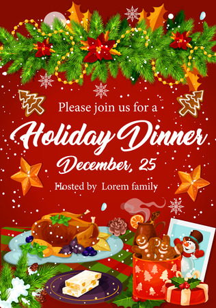 Illustration for Christmas dinner invitation for Xmas party design - Royalty Free Image