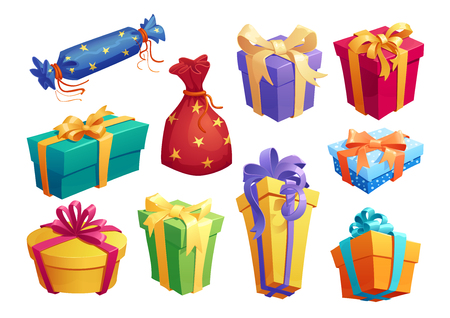 Ilustración de Gift box icon of present packaging with ribbon bow - Imagen libre de derechos