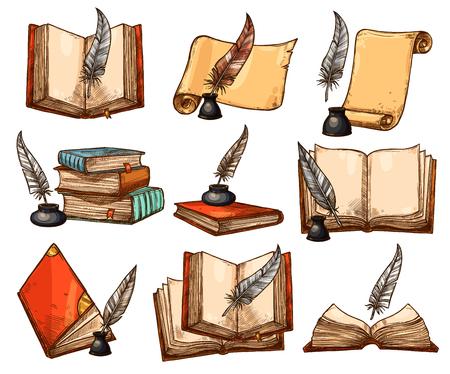 Illustration pour Old book, paper scroll and feather pen sketch set - image libre de droit