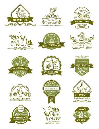 Ilustración de Vector olive icons of for organic olive oil - Imagen libre de derechos