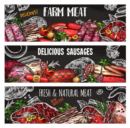 Illustration for Meat and sausage chalkboard banner of farm market template. Beef steak and pork ribs, salami sausage and bacon, ham, lamb sirloin and chicken fillet sketch poster for menu card or label design - Royalty Free Image