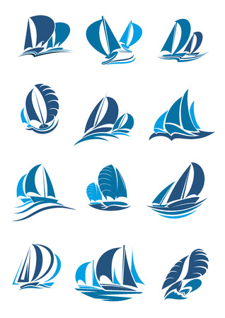 Ilustración de Sail boat, yacht and sailboat icon set. Sailing ship under full sail with wave and splashes blue silhouette of water vessel for sailing sport, regatta, sailing race and yacht club emblem design - Imagen libre de derechos