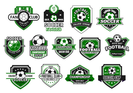 Illustration for Soccer sport club and football team shield badge set. Soccer ball on heraldic shield, decorated with champion wreath, ribbon banner and star for football championship and soccer fan club design - Royalty Free Image