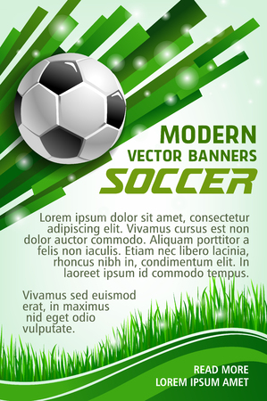 Illustration pour Football sport game banner with soccer ball. Green grass of football stadium field and soccer ball poster for sporting competition and championship match web banner design - image libre de droit