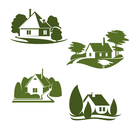 Illustration pour Eco green house isolated icon set. Eco city green home symbol with backyard garden, tree and grass lawn for ecology landscape design and environment friendly real estate company emblem design - image libre de droit