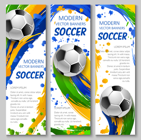 Illustration pour Soccer vector banners for football game competition and sport club template. Soccer ball flying with motion trail of colorful paint brush stroke, splashes and spots - image libre de droit