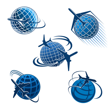 Illustration pour Plane and journey icon of air travel symbol. Around the world travel concept with airplane flying around the earth planet blue silhouette for air transportation company and travel agency emblem - image libre de droit