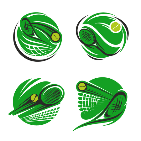 Illustration for Tennis sport symbol of sporting competition. Tennis ball, racket and net on green court round icon for championship tournament and sport club emblem design - Royalty Free Image