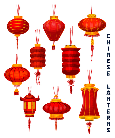 Ilustración de Chinese New Year isolated lantern icons set. Red paper lamp of Oriental Spring Festival with lucky knot ornaments and golden decoration for asian lunar calendar holidays design - Imagen libre de derechos