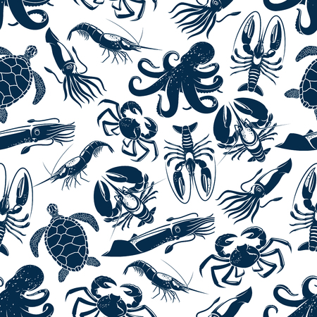 Ilustración de Seafood and sea animals seamless pattern. Vector ocean turtle, octopus or lobster and crab, squid cuttlefish or shrimp and prawn, oyster and mussels or crayfish for seafood design backdrop. - Imagen libre de derechos