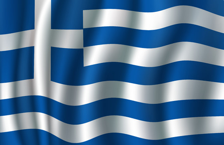 Ilustración de Flag of Greece 3d illustration with greek blue and white banner. European country national symbol vector concept for travel, geography of Europe and tourism themes design - Imagen libre de derechos