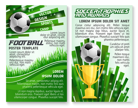 Ilustración de Soccer ball and trophy banner for football sport game template. Golden winner cup with ball on green grass field of soccer stadium for football sport club award information poster design. - Imagen libre de derechos