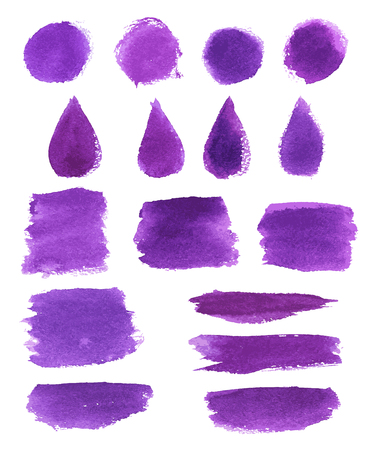 Illustration pour Watercolor brush stroke set. Violet paint brushstroke, round stain and drop shaped splatter with grunge texture for art themes design - image libre de droit