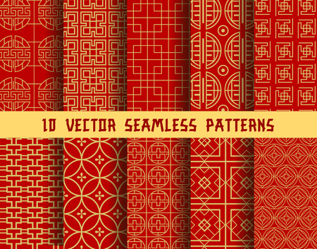 Illustration for Chinese red and golden seamless vector patterns of abstract traditional Asian ornament. Vector background patterns set of Chinese or Japanese geometric circles and squares and ornate golden line shape - Royalty Free Image