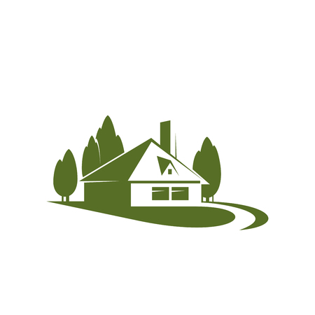 Ilustración de Eco village or green house real estate company or building and construction agency icon design template. Vector house in green forest trees for landscape designing or urban horticulture. - Imagen libre de derechos