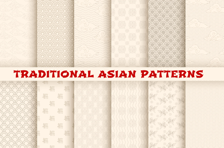 Illustration pour Asian Chinese Japanese vector seamless patterns - image libre de droit