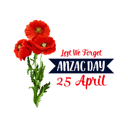 Illustration for Anzac Day 25 April red poppy vector icon ribbon - Royalty Free Image