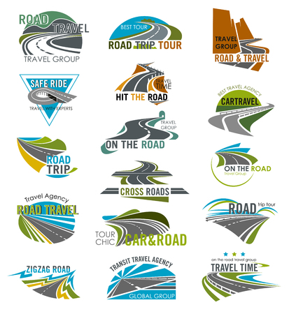 Illustration pour Road icons set for travel or tourist company and agency. Vector isolated curved highway or traffic lane path and motorway horizon, tunnel and bridge for road journey or travel voyage templates - image libre de droit