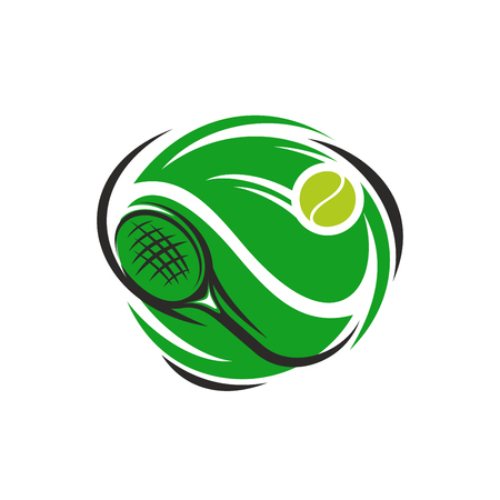 Illustration pour Tennis sport club or league cup tournament icon. Design template of green playing racket and yellow ball. Vector isolated badge for tennis championship. - image libre de droit