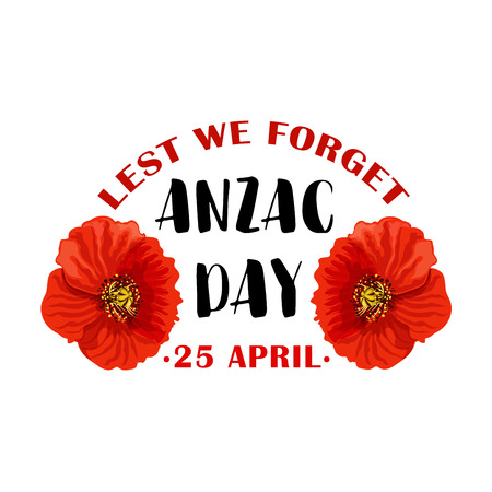 Illustration for Red poppy flower symbol of Anzac Remembrance Day - Royalty Free Image
