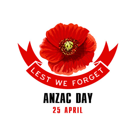 Illustration for Anzac Day Lest We Forget card with poppy flower - Royalty Free Image