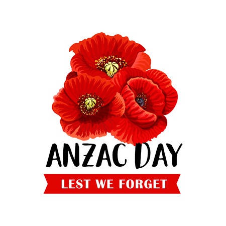 Illustration for Anzac Remembrance Day icon with red poppy flower - Royalty Free Image