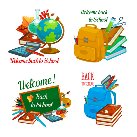 Illustration for Back to School vector study stationery icons - Royalty Free Image