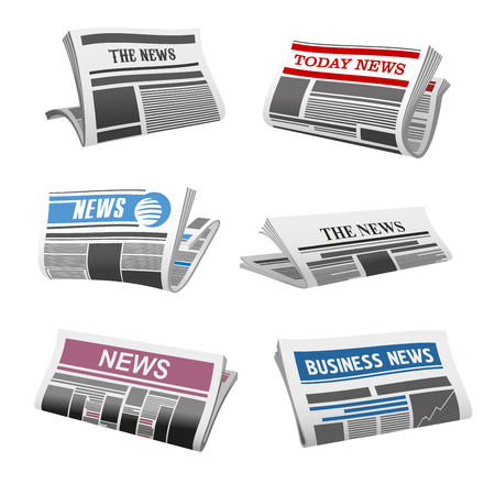 Illustration for Newspaper isolated icons of folded news magazine. Vector daily news press title and text printed on pages with sign of publishing house for newspaper or information journal design template - Royalty Free Image