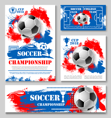 Illustration pour Soccer sport championship cup poster template of college football team. Soccer ball, winner trophy and football stadium field, sports arena and gate banner for competition match announcement design - image libre de droit