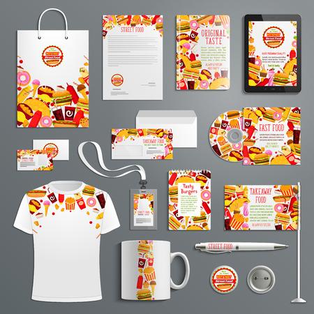 Illustration pour Corporate identity template for fast food branding - image libre de droit