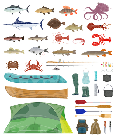 Ilustración de Fisherman tools and fishing tackles icons. Vector isolated equipment set of fisher boat, tent and fishing net or rod with hooks and fishes bait for flounder, salmon or trout and marlin or tuna catch - Imagen libre de derechos