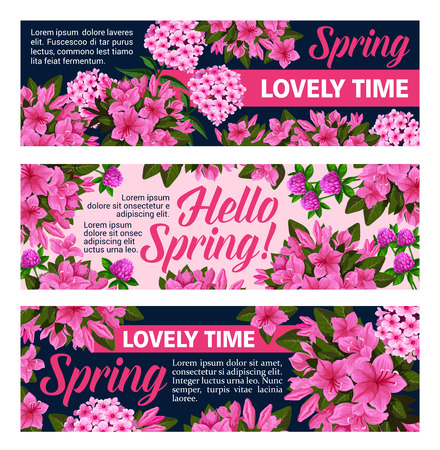 Ilustración de Vector flowers banners for springtime season - Imagen libre de derechos