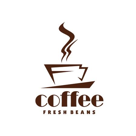 Ilustración de Hot coffee steam cup vector line icon for cafe - Imagen libre de derechos