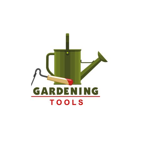 Ilustración de Farmer gardening watering can and hoe vector icon - Imagen libre de derechos