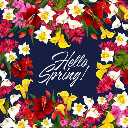 Ilustración de Vector springtime flowers seasonal poster - Imagen libre de derechos