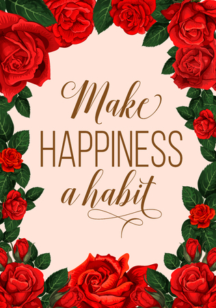 Illustration pour Make happiness a habit lettering with red flowers greeting card - image libre de droit