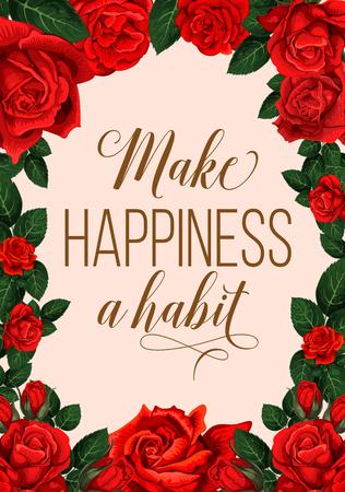 Ilustración de Make happiness a habit lettering with red flowers greeting card - Imagen libre de derechos