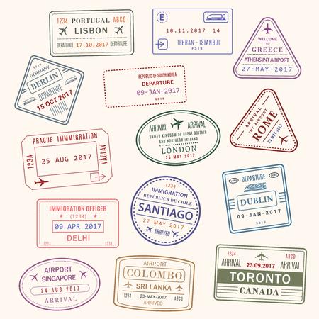 Illustration pour Passport stamp vector city and country icons set illustration. - image libre de droit