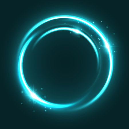 Illustration pour Vector neon light circle sparkles shine icon illustration. - image libre de droit