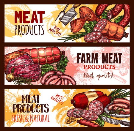 Illustration pour Vector meat farm products sketch banners illustration. - image libre de droit