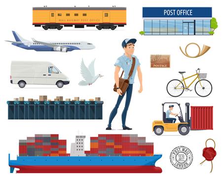 Illustration pour Post mail delivery and postman vector flat icons illustration. - image libre de droit